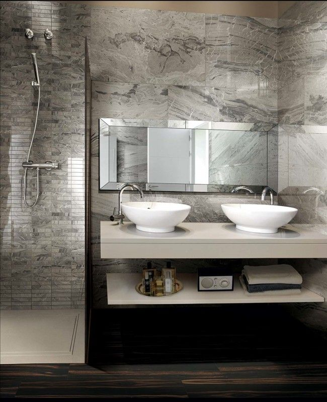 I MARMI DI REX by Rex. Marble Gray Lucido, Gray Strip Mosaic Lucido.  Precise and perfect elegance, the I MARMI DI REX line interprets the inheritance of an unaltered past. It rediscovers the intrinsic beauty of a material without pomposity.  - Urban Edge Ceramics, Melbourne