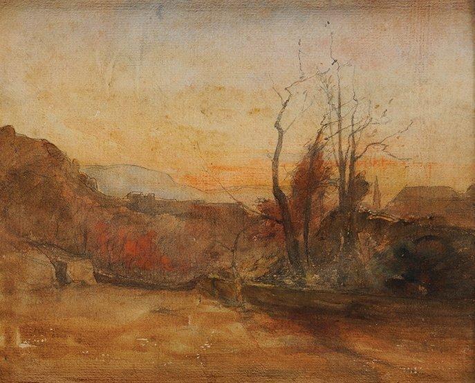 Forêt au Crépuscule, aquarelle et crayon, 23,3 x 28,4 cm, collection particulière.