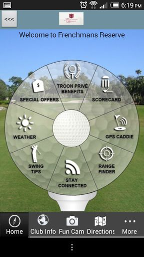 Do you enjoy playing golf at Frenchman's Reserve Country Club in Florida?  The OFFICIAL Frenchman's Reserve Country Club app gives golfers a free, easy to use, interactive combination of comprehensive course information, GPS positioning, digital scorecard, augmented reality range finder, and various other useful club-specific features.<p>GPS Caddie<br>- Instantly view distances to the tee, front, back, and middle of the green, as well as par for each hole<br>- Interactive shot positioning…