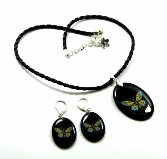 conjunto collar, pendientes y anillo en resina  imagen impresa,resina,accesorios metálicos encapsulado en resina