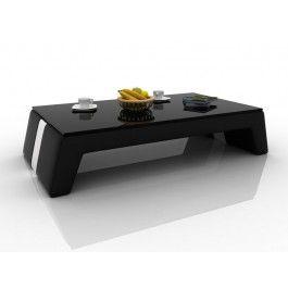 divani casa ev33 modern black and white bonded leather coffee table w glass top