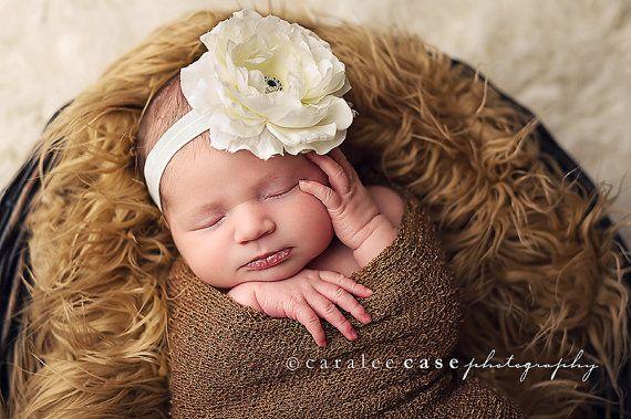 Baby Headband  Large White Flower Headband  by Pinkpaisleybowtique,
