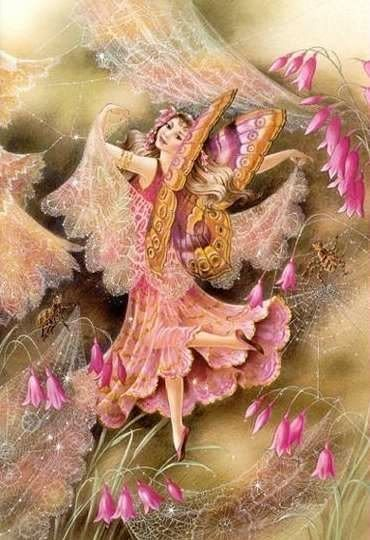 Pretty fairy girl with purple and gold butterfly wings. Spreading gossamer and lace--adding a touch of beauty in her wake.