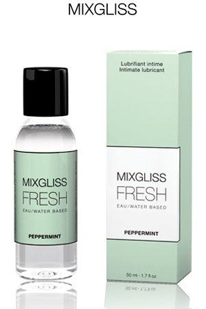 Lubrifiant frais et efficace, le gel lubrifiant Mixgliss Fresh - Peppermint d'une contenance de 50 ml. Ce gel est constitué principalement d'eau et d'extraits naturels de menthe et de romarin pour un confort absolu.