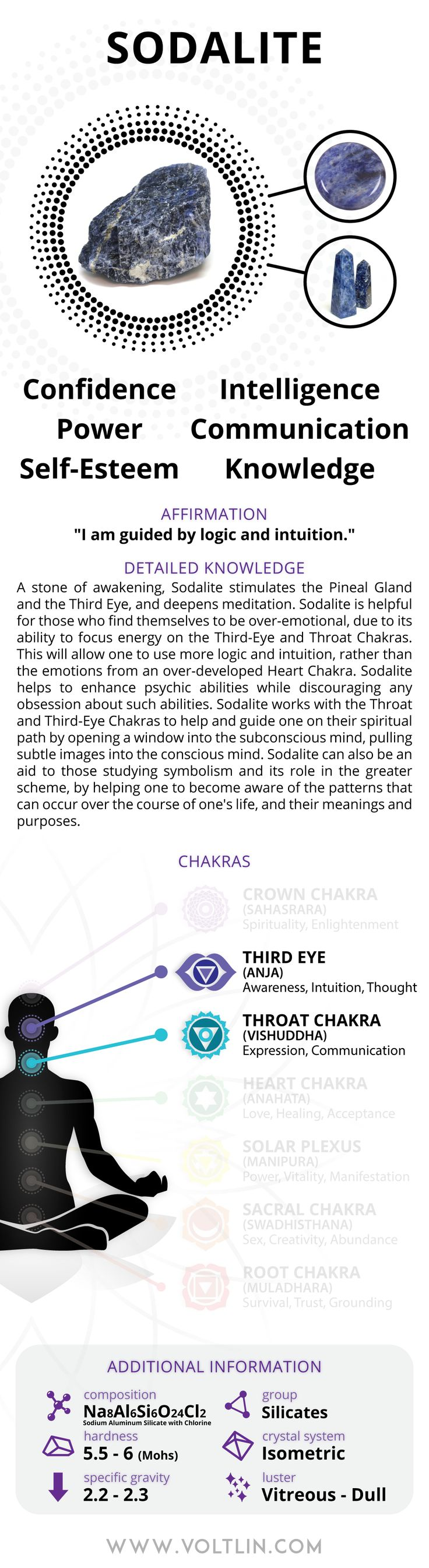 Express Shipping: 2-6 days (ships out within 1 business day) Warranty: Free repairs for up to 6 months Description A stone of awakening, Sodalite stimulates the Pineal Gland and the Third Eye, and dee