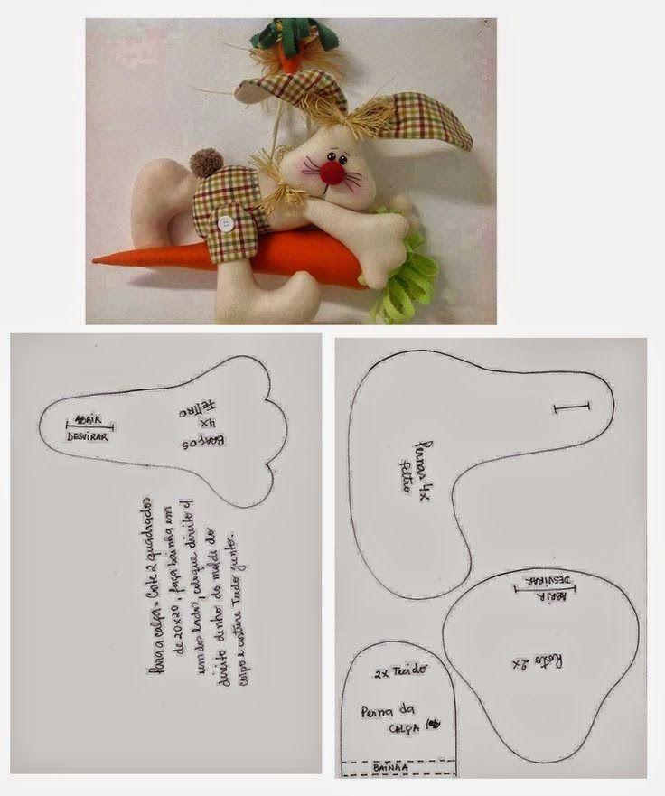 molde coelho e cenoura de feltro