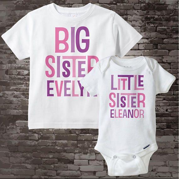Big Sister Little Sister Outfit Shirt set of 2 Sibling Shirt