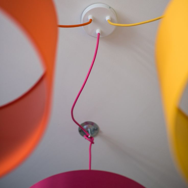 One of our 3 way ceiling rose kits. White ceiling rose with various options of lighting cable, hooks and lampholders. Colour pop lighting at it's best!