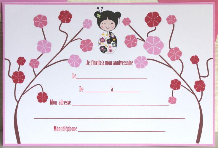 carte d 39 invitation pour anniversaire imprimer enfant sur le th me du japon invitations et roses. Black Bedroom Furniture Sets. Home Design Ideas