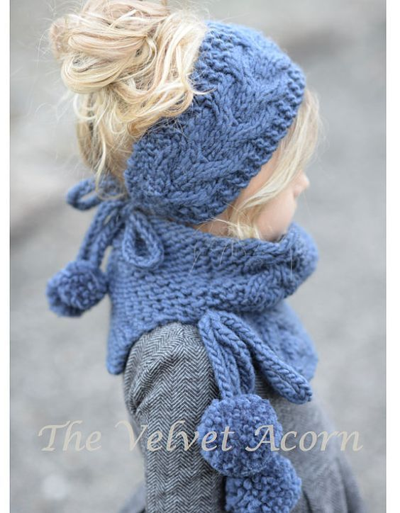 Knitting PATTERN-The Plumage Set Toddler Child Adult sizes