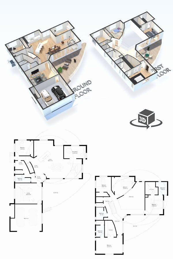 5 Bedroom House Plans 3d Fresh 5 Bedroom House Floor Plan In Interactive 3d Get Your Own Modern House Floor Plans Bedroom House Plans Three Bedroom House Plan