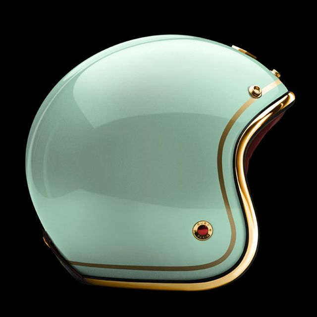 """Tuileries"" helmet from Ateliers Ruby, 2012 Pavillion Collection (+)  The French company is pairing the carbon fiber helmets with a stunning selection of soft Nappa Lamb leather, with a finishing trim of chrome, brass, or gunmetal. Users have the option of customizing the finish of the shell with a pattern such as stripes, checks, or even polka dots."