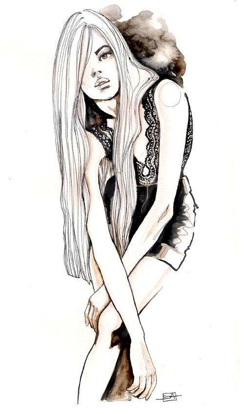 Fashion illustration - long hair, lace top & shorts; stylish fashion drawing // Sara Ligari