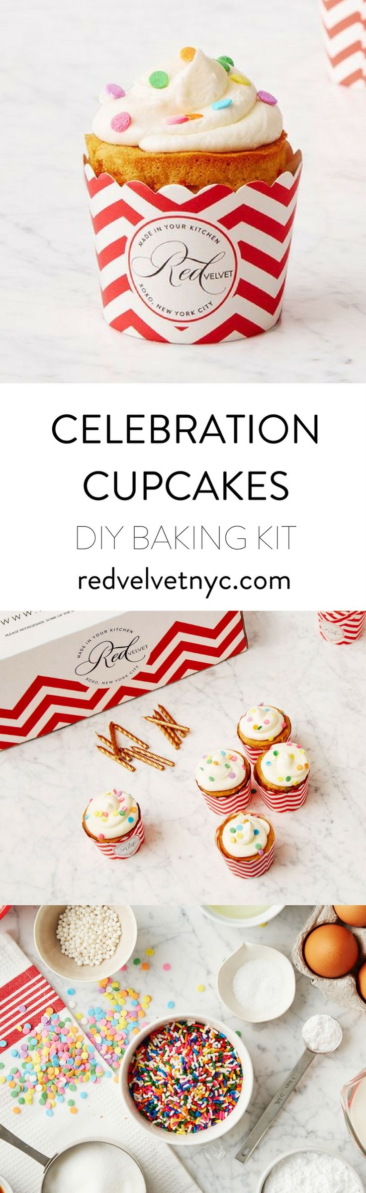 Bring out your inner child with these celebratory treats. Colorful cakes, pastel sprinkles and gold candles scream YAY. Includes 24 oven-safe red and white chevron cupcake cups, and 10 gold candles.