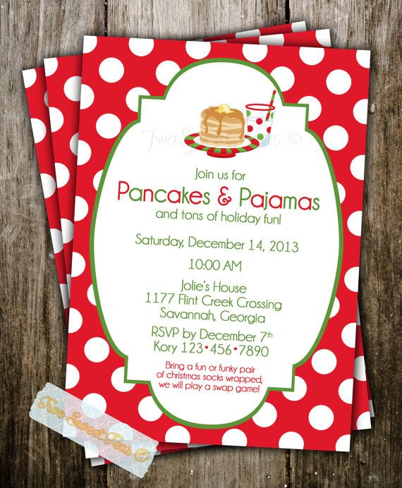 Pancakes And Pajamas Invitation Christmas Holiday Santa Breakfast