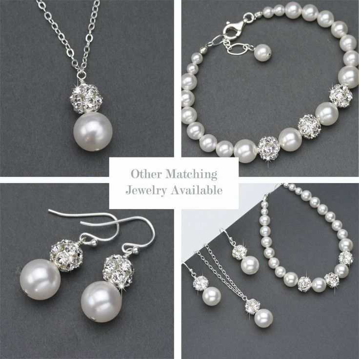 Pearl and Rhinestone Necklace, Sterling Silver Wedding Jewelry