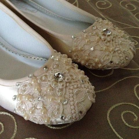 Ivory Snowflake Bridal Ballet Flats Wedding by BeholdenBridal, $175.00
