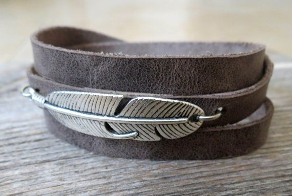 """Men's Bracelet - Men's Feather Bracelet - Mens Gray Bracelet - Men's Leather Bracelet - Men's Jewelry - Bracelets For Men - Jewelry For Men  Looking for a gift for your man? You've found the perfect item for this!   The simple and beautiful warp bracelet combines gray leather texture and a silver plated feather pendant.   The bracelet clasp is easy to use and safe.   Bracelet Length: 22.8 (53 cm) + 2"""" (5 cm) extension chain.  $34"""