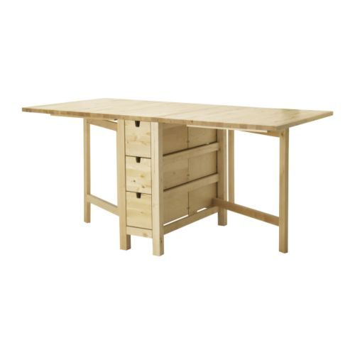 Ikea norden gateleg table with 6 drawers for Table norden ikea