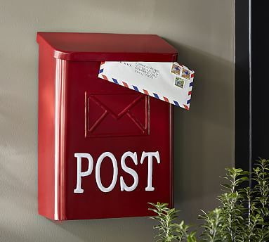 How good would this look with our vintage red metal porch chairs? Red Post Mail Box #potterybarn