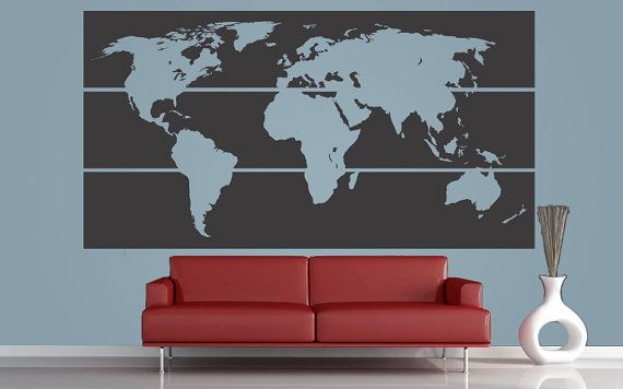 [USED] World Map wall decal- everyone can take mini polaroids and put up where they are from. To go on wall behind bar. $189