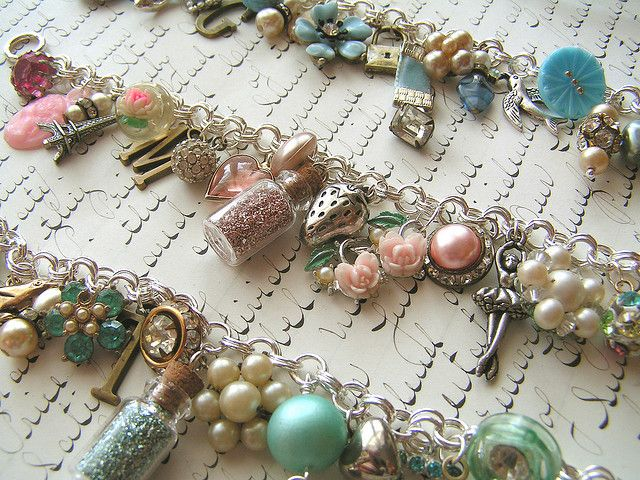 So vintage and Pretty.  Found Object Charm Bracelets by andrea singarella, via Flickr