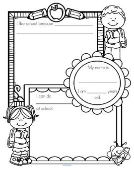 """***FREE*** Back to School mini lesson. This is a """"dictate and draw"""" activity page for a back to school theme, for early learners. Have a group discussion about the new class/group, then children draw pictures and teacher writes the child's dictated words.  This is a mini-lesson from the HUGE pack - KidSparkz BACK to SCHOOL Printables No Prep (b-w, 93 pages $6)"""