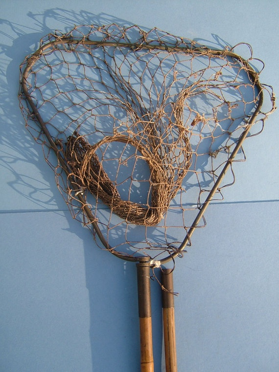 Edwardian landing net for fishing with bamboo cane handle for Fish landing nets