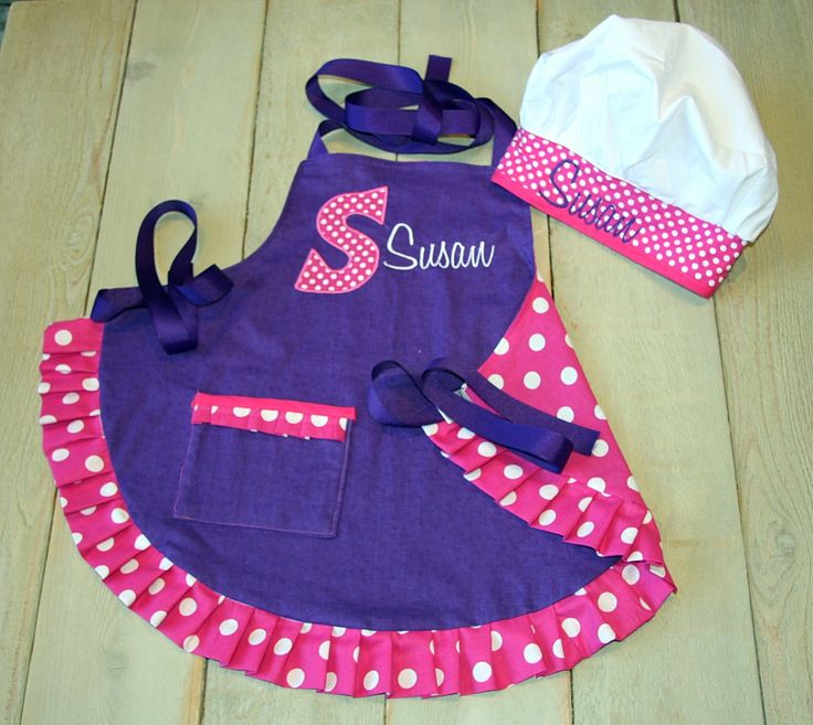 Custom Embroidered  Apron Personalized Apron Made to Order Custom apron Chef Hat available with coordinating oven mitts and hot pads by RedBobbinDesigns on Etsy