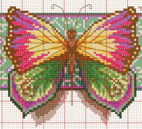 Como bordar mariposas en punto de cruz02