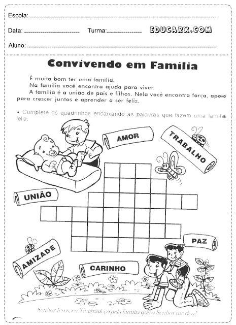 Complete os quadrinhos encaixando as palavras que fazem uma família feliz