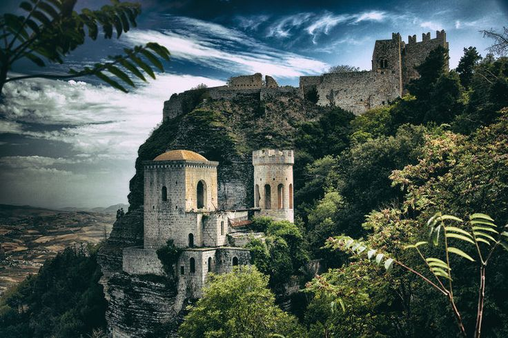 The Past by Andrzej Godlewski Pepoli Turret, part of Pepoli Castle, built in Saracen times in town of Erice, Sicily, on top of Mount Erice.