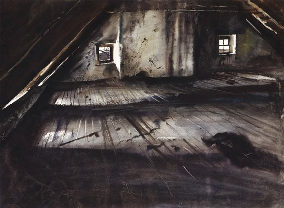 Andrew Wyeth, THE ATTIC. I love paintings like this, that seem just like doorways to another room.