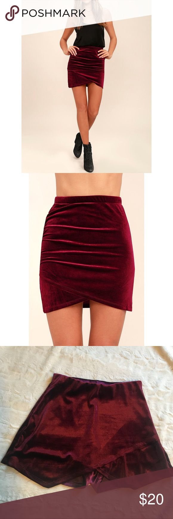 Red velvet skorts Celebrate making it through the work week by hitting happy hour in the Celebrate the Feeling Burgundy Velvet Bodycon Skort! Soft and stretchy velvet shapes this sexy mini skirt with ruched detail along the right side that wraps into a rounded tulip hem.   Elasticized waist.  Unlined.  92% Polyester  8%Spandex.   Hand Wash Cold. Shorts Skorts