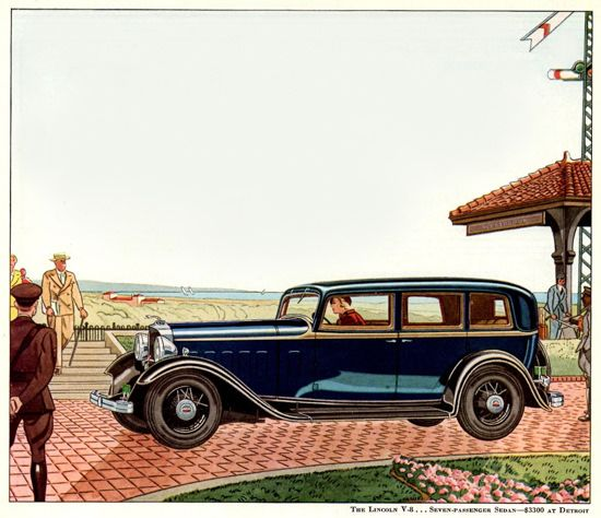 Lincoln Motor Company V8 7 Passenger 1932 | Mad Men Art | Vintage Ad Art Collection