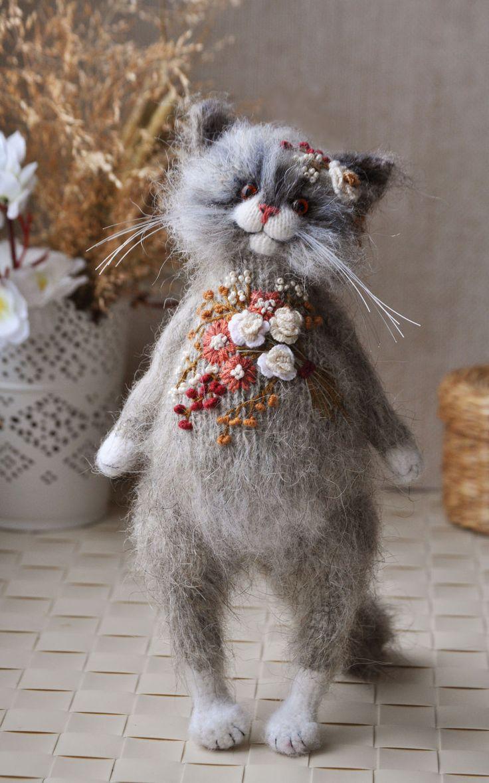Embroidered Toy Cat   Котик «Вышитая шубка» — Купить, заказать, игрушка, кот, котенок, шубка, вышивка, вышивание, мохер, мулине, ручная работа