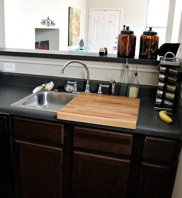 These are all great, but my issue is always having enough counter space for prep, so i particularly love the cutting board sink cover!! | Small kitchen solutions like this one from Sweet Verbena