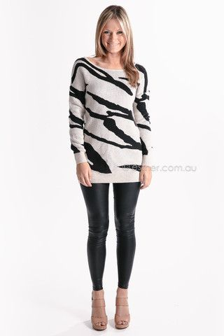 black tiger jumper - beige/black - sale