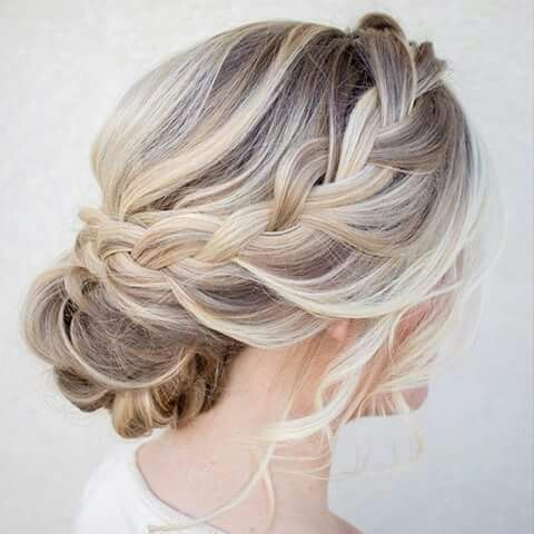 YES!! This is the style I'm going for, I think, but with a fancy hair ornament, either a comb or bobby pins, added to the top of the bun bit. I can't decide whether the bun should be towards the side or more centered. -Katie