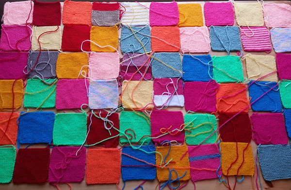 Hand knitted blanket squares