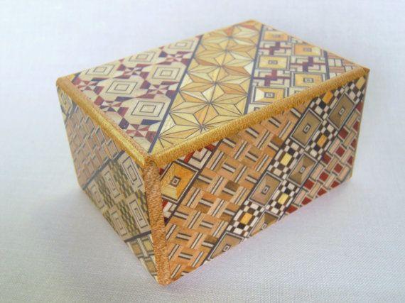 I love Japanese puzzle boxes! Japanese Puzzle box (Himitsu bako)- 3.5inch Open by 18steps Yosegi