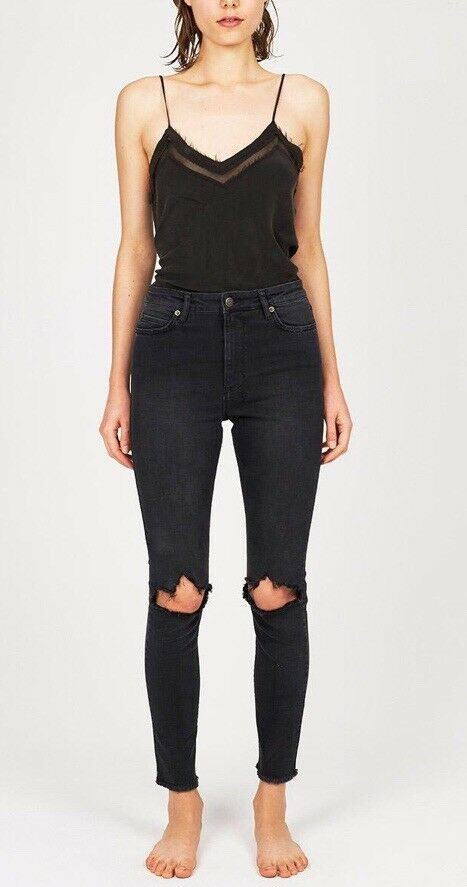 f54dc385e70 KSUBI Hi & Wasted Trash Ash Black Knee Ripped Denim Skinny Jeans Sz 23 6 7  #fashion #clothing #shoes #accessories #womensclothing #jeans (ebay link)