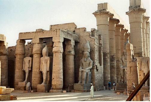 The Luxor temple is a monumental ancient Egyptian structure near the east bank of the river Nile. The above architecture is of the old kingdom. This era can be identified by the flat and simple mud baked buildings.