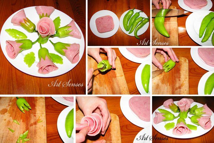 Рози от шунка и чушки за предястие - TUTORIAL