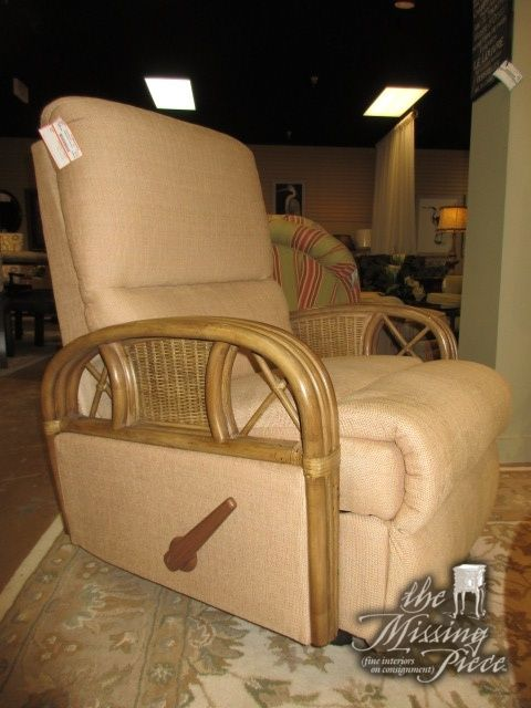 "Rocker recliner chair in a tan upholstery on rattan frame. Nice for Florida style home. 31""wide x 35""deep x 41""high. Nice scale as well, not too bulky or oversized."