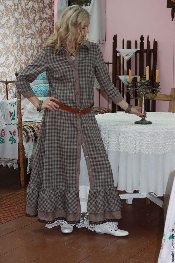 Купить Платье-рубашка в клетку, кантри, оборки - коричневый, в клеточку, платье-рубашка, авторское платье