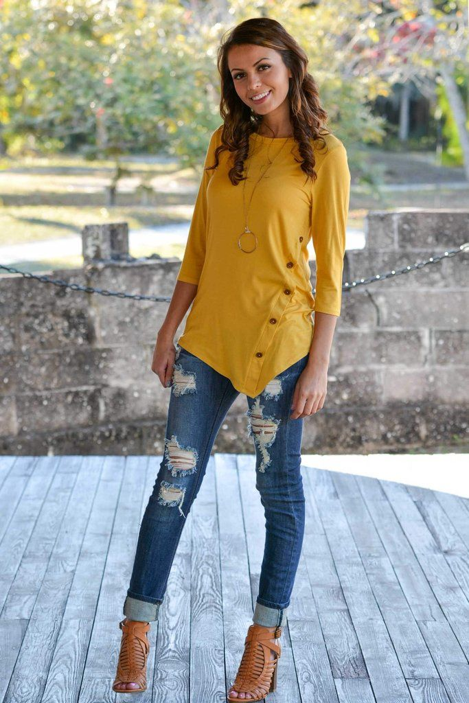 Happy Hour Mustard Yellow Button Top Shop Simply Me Boutique Shop SMB – Simply Me Boutique
