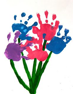 Hand Print Flowers for Mother's Day