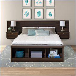 Prepac Series 9 Platform Storage Bed with Floating Headboard in Espresso - EBX-EHHX-BED