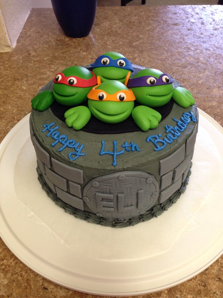 TMNT cake I made for my son's 4th birthday! I used fondant for the turtles and homemade buttercream for the frosting!